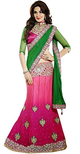 - INMONARCH Womens Gorgeous Green And Pink Lehenga Saree SSA3310 stitched