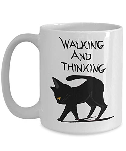 MORI-TM, Coffee Mug -Walking and Thinking - 11oz and 15oz White Black Ceramic Cup - Best Funny Cat Gift for Men Women Dad Mom Boy -