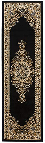 (Antep Rugs Siesta Collection Traditional Oriental Polypropylene Indoor Runner Rug (Black/Beige, 2'3