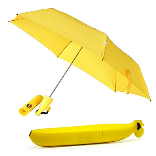 Price comparison product image BISONS Folding Umbrella Portable Sun/Rain Umbrella for Outdoor in Banana Shape (Yellow)