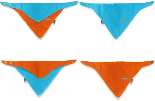 Blue//Orange Faye and Lou Four Way Dribble Bib
