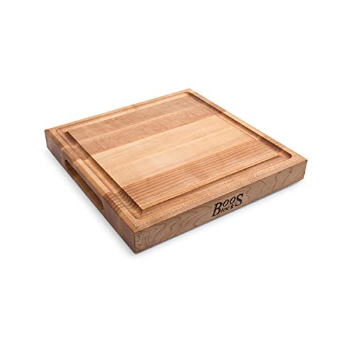 John Boos Block CB1052-1M1212175 Maple Wood Square Cutting Board with Juice Groove, 12 Inches x 12 Inches x 1.5 Inches ()