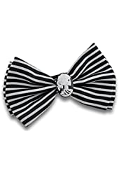 Black and White Striped Bow Tie with Skeleton Cameo