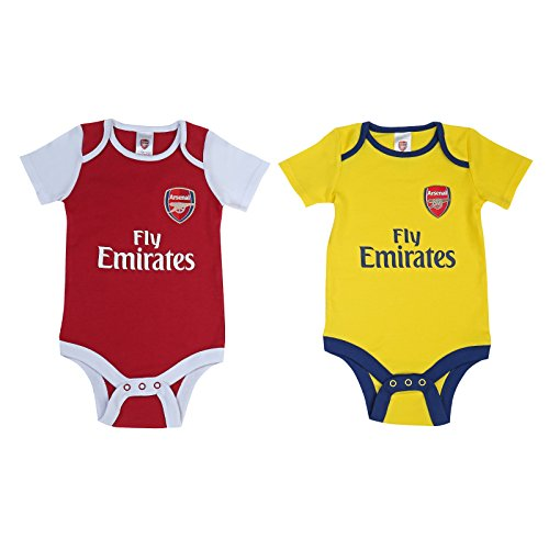 Official Arsenal Baby Core Kit 2 Pack Bodysuits - 2017/18 Season (12-18 Months) by Brecrest