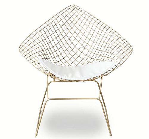- FENG Fan Openwork Wire Chair Modern Wrought Iron Lounge Chair Cafe Chair Designer Chair (Color : Gold)
