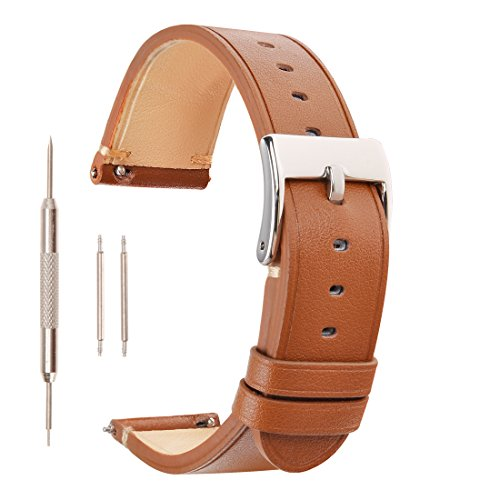 ZLYC 20mm 22mm Leather Replacement Watch Band Wrist Strap for Men with Stainless Steel Buckle, Minimal Stitching, Brown, 22mm