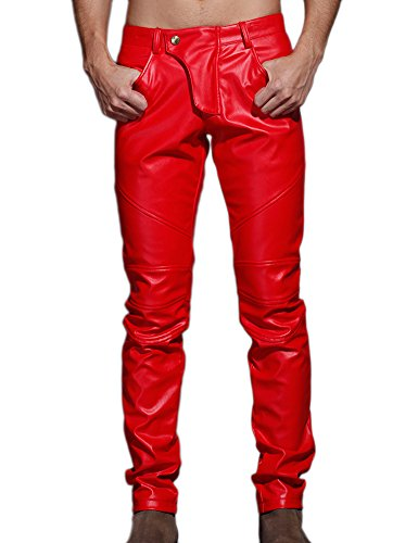 Idopy Men`s Slim Fit Party Performance Biker Faux Leather Jeans Pants Red 36 -