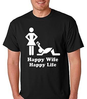 Raw T-Shirts Happy Wife Happy Life - Funny Sercastic ATM Machine Premium Men's T-Shirt (Small, Black)