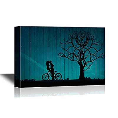 Abstract Tree Canvas Wall Art - Lovers on a Bike by a Tree Under Beautiful Night Sky - Gallery Wrap Modern Home Art | Ready to Hang - 32x48 inches