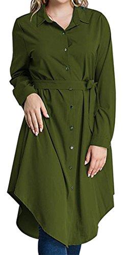 Abiti Donne Curvo Il Allentato Verdi Orlo Irregolare Cromoncent Camicie Formato Più Pulsante rfqr0v