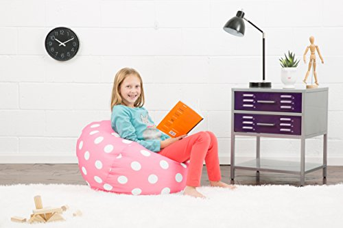 Big Joe , Candy Pink Polka Dot Classic Bean Bag Chair, White