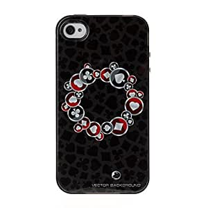 DUR Round Poker Texture TPU Soft GEL Back Cover Skin Case for iPhone 4/4S