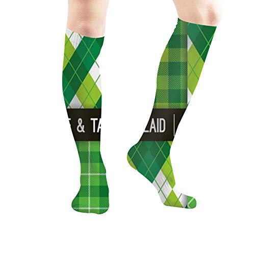 Green Argyle Tartan Plaid S Tube Knee High Socks 60cm Unisex Over-The-Calf Tube Sports Socks Extra Long Compression ()