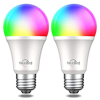 Smart Light Bulb Works with Alexa Google Home, NiteBird A19 E26 WiFi Multicolor Dimmable LED Lights Bulbs, 2700k + RGB, 75W Equivalent, No Hub Required, 2 Pack