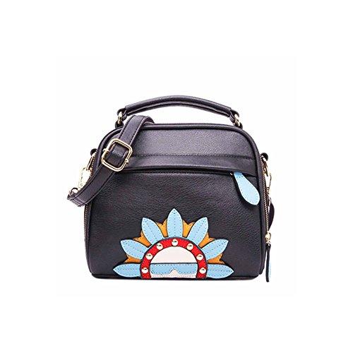 Renhong Cross Handbag Shoulder Bag Fashion Printing Ladies Casual Black Shoulder Bag Classic Leather, Black-black Onesize