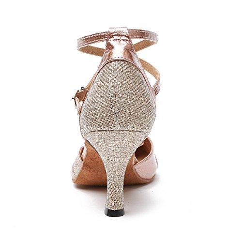 Minishion Kvinna Glitter Balsal Latin Dansskorna Parti Bröllop Klackar Champagne-7.5cm Häl