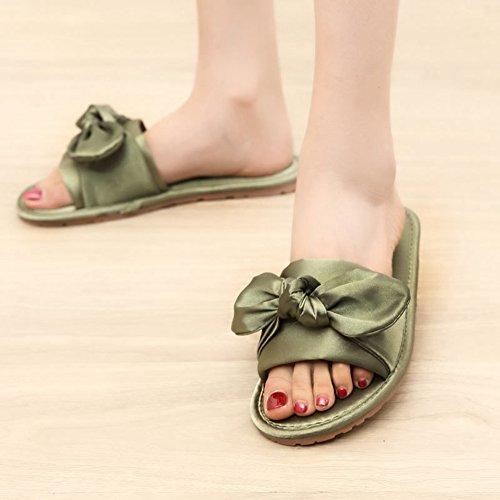 Sandali Btrada Slide Per Donna-papillon In Raso Slip On Flats-scarpe Antiscivolo E Traspiranti Verde Chiaro