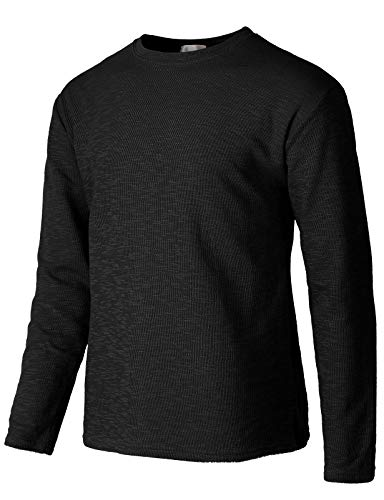 H2H Mens Casual Premium Slim Fit T-Shirts V-Neck Long Sleeve Cotton Blended Black US M/Asia L (KMTTL485)