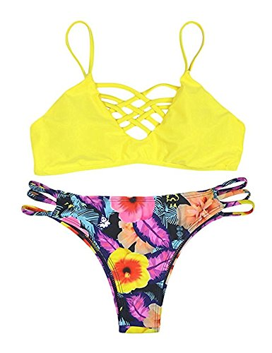 Mistere Athletic-two-piece-swimsuits Mistere Bohemians Sexy Floral Vikini,X-Small,Yellow