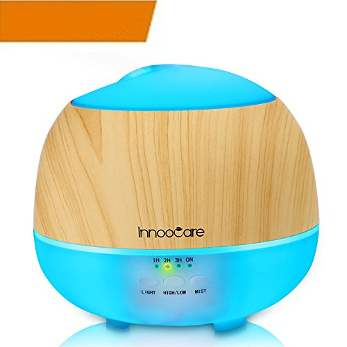 Essential Oil Diffuser, 500ML, InnooCare Wood Grain Aromatherapy Diffuser,Ultrasonic Cool Mist Humidifier with 7 Color Changing LED Lights and Timer Settings,Waterless Auto off