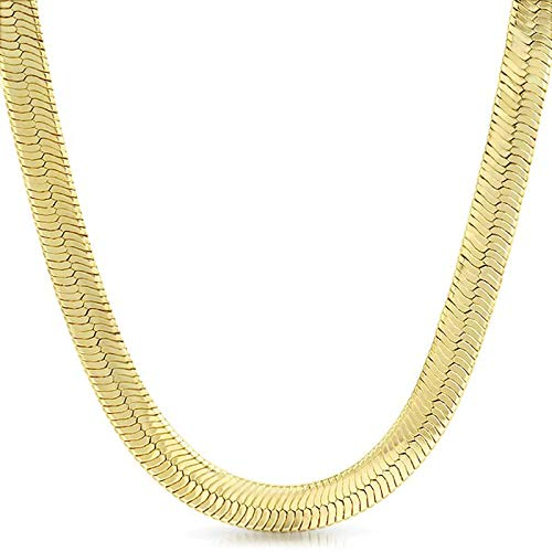 XChains 14K Italy Gold Plated 5mm Herringbone Necklace 18