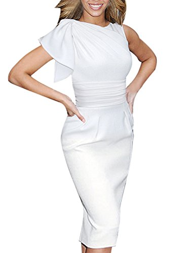 VfEmage Women's Celebrity Elegant Ruched Wear to Work Party Prom Bodycon Dress 1157 WHT 14