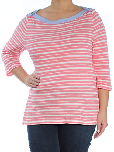 3/4 Hilfiger Tommy Sleeve - Tommy Hilfiger Womens Striped Boat-Neck Casual Top Red XL