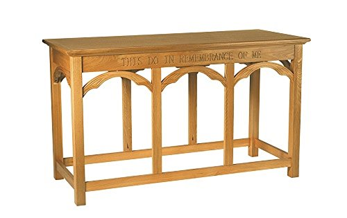 Communion Table with CNC Eastern Oak 54'' Wx24'' Dx32'' H by Christian Brands