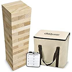 GoSports Giant Wooden Toppling Tower (stacks to 5+ feet) | Includes Bonus Rules with Gameboard | Made from Premium Pine Blocks