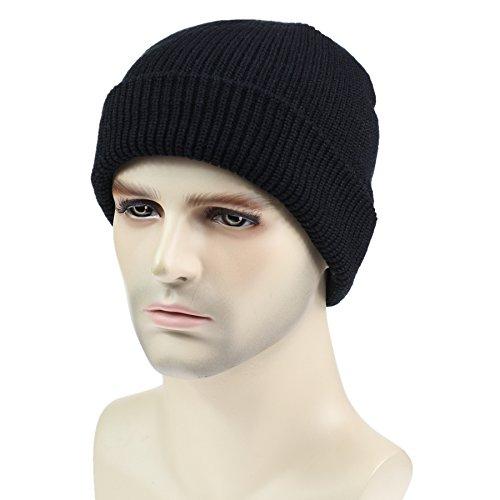 dad82cb92d7 Amazon.com  Connectyle Classic Men  s Warm Winter Hats Thick Knit Cuff  Beanie Cap Daily Beanie Hat Black
