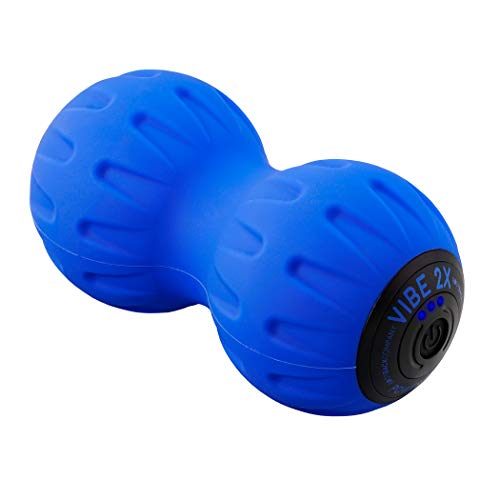 Vibe 2X Power Peanut by Body Back Company - Vibration Therapy Massage Ball & Exercise Roller for Cordless Rechargeable Myofascial Release, Deep Tissue, Trigger Point & Sports Massage (Blue)