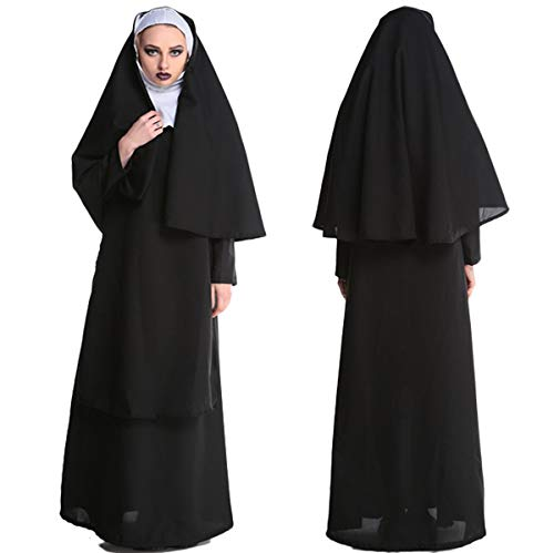 ALIZIWAY Halloween Nun Costume for Women Halloween Cosplay Costumes Dress Outfit Robe 014M -