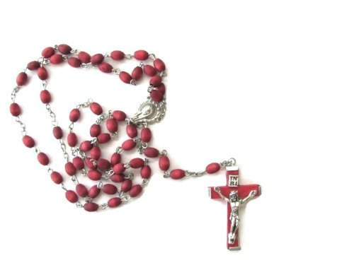 Rose Scented Rosary with Wood Crucifix and Saint Joseph HC blessed by Pope - Rosary Beads Tattoo