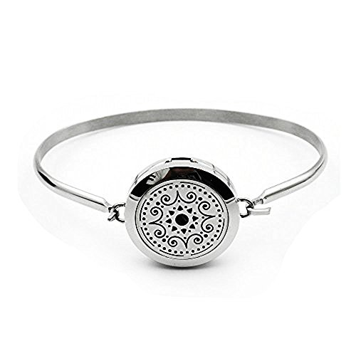 COOHAA Aromatherapy Essential Oil Diffuser Locket Bracelets Stainless Steel Perfume Jewelry With Silvery Chain
