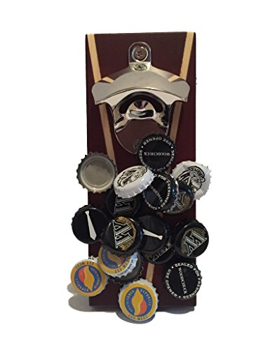 Titan - Wall Mounted Bottle Opener with Finished Wood and Magnetic Cap Catcher (Silver)