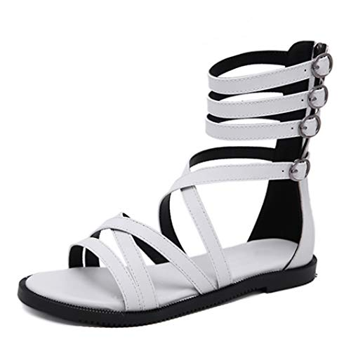 Women Gladiator Sandals Open Toe Flats with Cross Strap Back Zipper and Four Buckles Rome Style Gothic Beach Shoes
