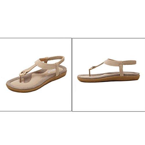 Strand böhmischen Mode VJGOAL Frau Sandalen Flache Mädchen Frauen Geschenk beiläufige Damen Sandalen Schuhe Beige Flache Sommer 4XpXqInxz