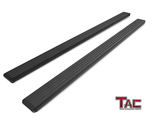 "TAC 5"" i4 Running Boards Fit 2009-2018 Dodge Ram 1500 Crew Cab / 2010-2019 Ram 2500/3500/4500/5500 Crew Cab (Excl. Chassis Cab Diesel Models) Aluminum Fine Textured Black Side Steps 2 Pieces"