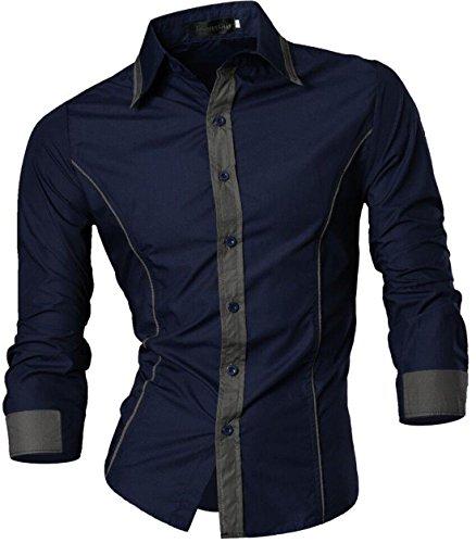 jeansian 2028 - Camisa de Manga Larga para Hombre, 8015a_Navy, XX-Large