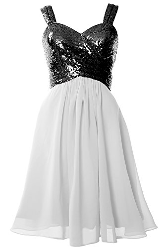 Black Gown White Cocktail Cowl Formal Gorgeous Bridesmaid Sequin Back MACloth Short Dress qvxRP7w