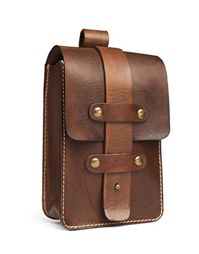 Price comparison product image Charted Excursion Unisex, Mens Womens, Outdoor Hiking Adventure, Secure Locking, Essentials Case, Brown 6 in x 4 in x 2.5 in, Full Grain Leather Belt Bag
