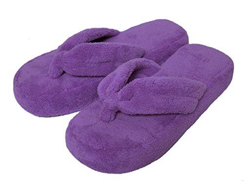 Onmygogo Coral Fleece Flip-Flops for Women, Non-Slip Cotton Outsole (Size M(US Women Size 8-9), Purple)
