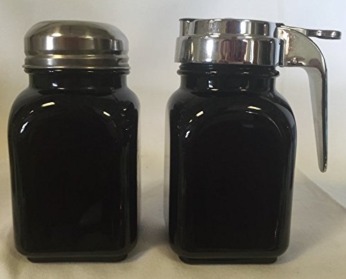 Breakfast Set - Syrup and Powdered Sugar - Black Glass - Mosser - American Made