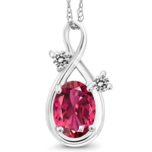 (0.77 Ct Oval Pink Tourmaline AA White Diamond 14K White Gold)