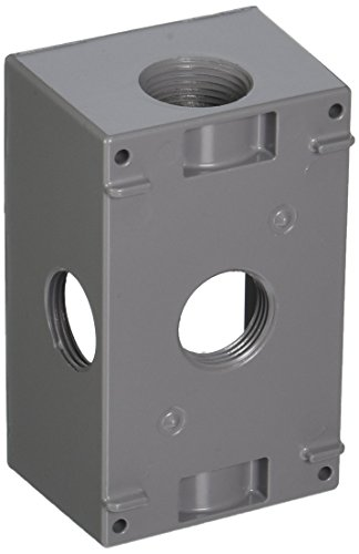 Hubbell-Bell 5332-0 2-Inch Deep 1-Gang 5 Outlet 18.3 Cubic Inch Weatherproof Box, Gray