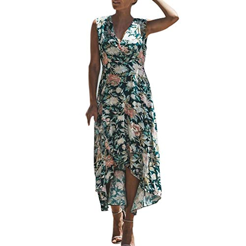 (TIANMI Women Vintage Print Floral Patch Dress Sleeveless O-Neck Loose Maxi Dress Green)