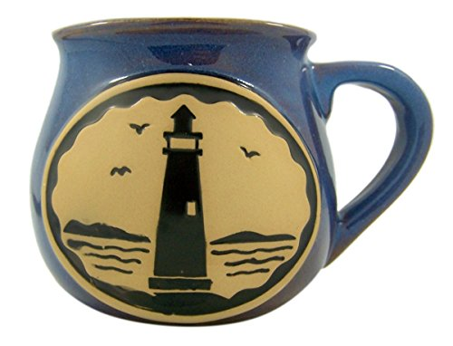 - Lighthouse Beach Themed Ceramic Pottery Style Coffee Mug, 14 oz