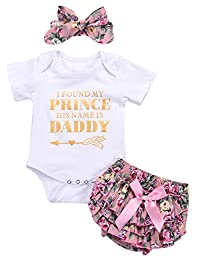 SUPEYA Baby Girls Letters Print Rompers+Floral Print Bowknot Shorts+Headband 3Pcs Set