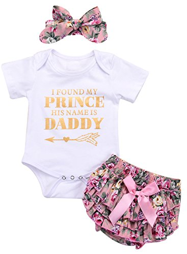 (LOTUCY 3Pcs Baby Girls I Found My Prince His Name is Daddy Romper Shorts Headbands Size 12-18 Months/Tag90 (White))