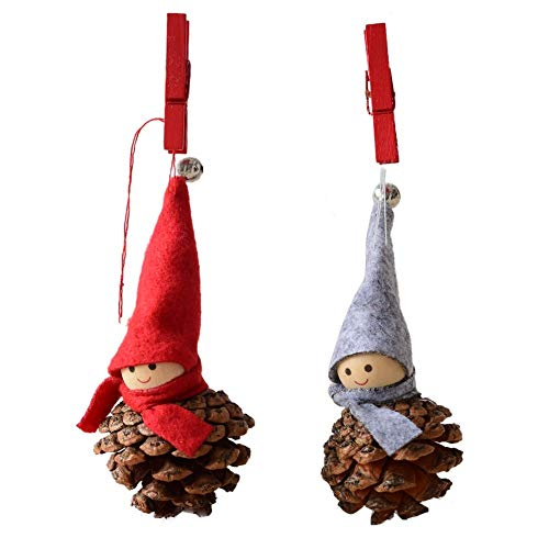 (Jiusike A Pair Creative Kawaii Snowman Doll Felt Couple Pendant Christmas Tree Pine Cone Bee Hanging Home Ornament Cute Craft Party Home Decoration Bauble)